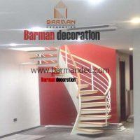 پله تک محور کنسولی با کف پله چوب و نرده ترکیبی چوب و فلز