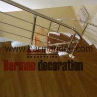 پله گرد پیچ نرده استیل کف پله چوبی