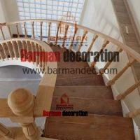 پله گرد پله پیچ نرده چوبی کف پله چوبی