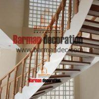پله دو محور ورق با کف پله و نرده چوبی