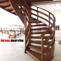 پله دو محور باکس با کاور تمام چوب و کف پله و نرده چوبی