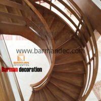 پله پیچ گرد پله چوبی نرده چوبی