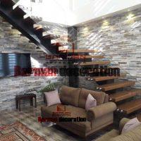 پله تک محور میانی با کف پله چوب و نرده شیشه