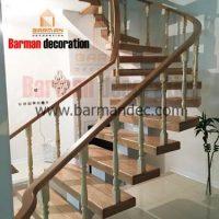 پله تک محور میانی با کف پله و نرده چوبی
