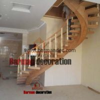 پله گرد تک محور پله چوبی نرده چوبی