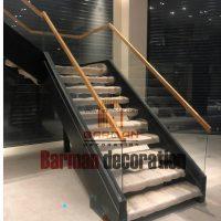 پله گرد پیچ دو محور باکس نرده شیشه کف پله چوب