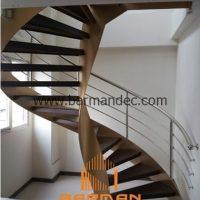 پله دو محور ورق با کف پله چوب و نرده استیل
